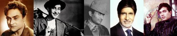 (From left) Ashok Kumar, Raj Kapoor, Dev Anand, Amitabh & Rajesh Khanna