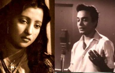 Suchitra Sen and Uttam Kumar  (in Deya Neya)