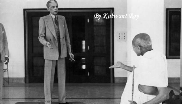 Mahatma Gandhi and Jinnah in heated conversation. A well-known photograph recently attributed to Kulwant Roy.