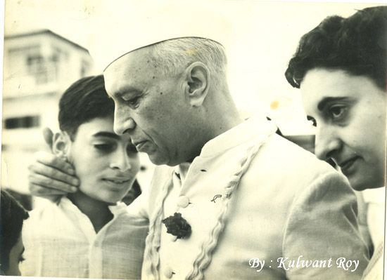 Nehru with his grandson, Rajiv Gandhi, and his daughter, Indira Gandhi, in an undated photo from the Kulwant Roy Collection. (Aditya Arya Archives, Kulwant Roy Collection )
