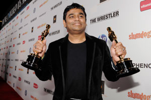 AR Rahman with his Oscars