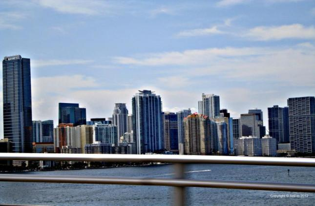 Miami Downtown from the Bridge on the ocean