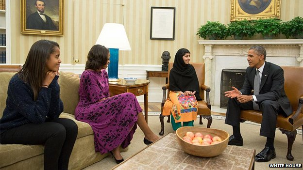 obamas and malala in white house